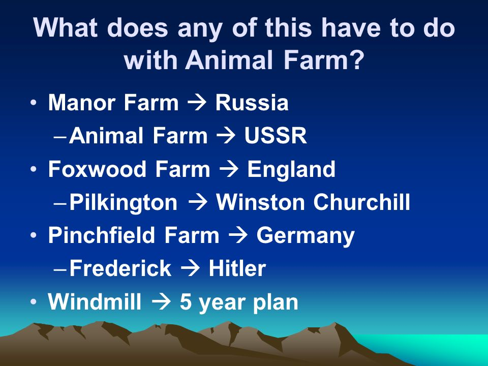 What does any of this have to do with Animal Farm