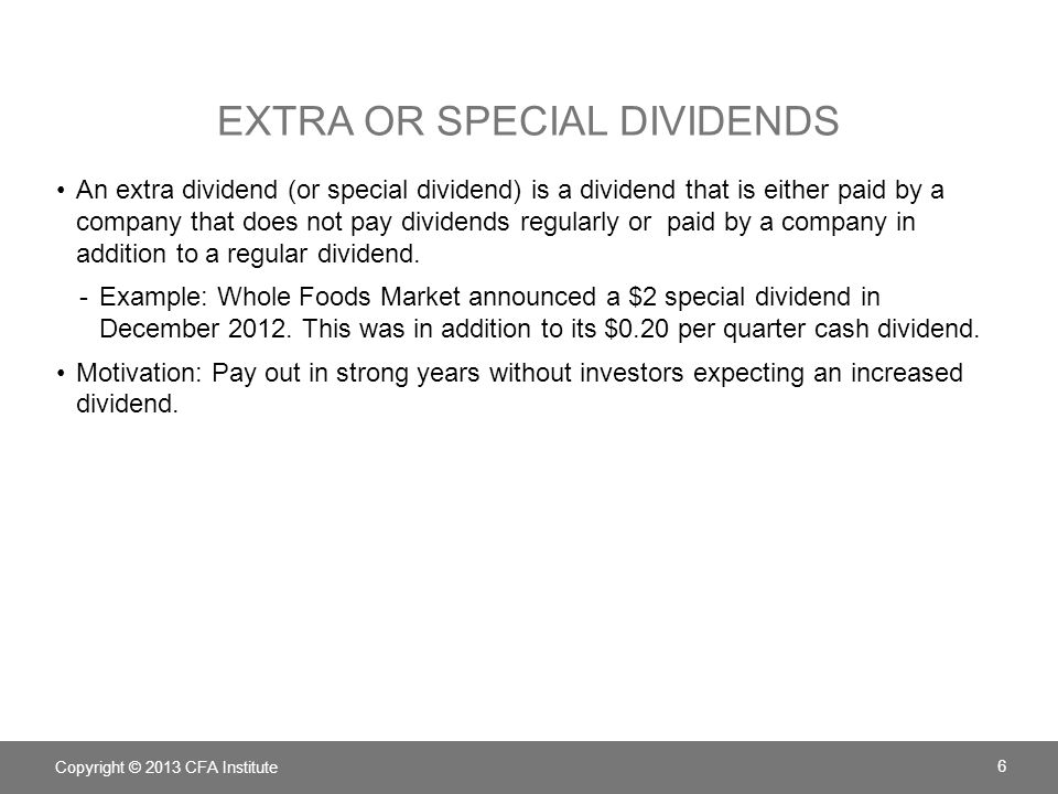 Extra or Special Dividends