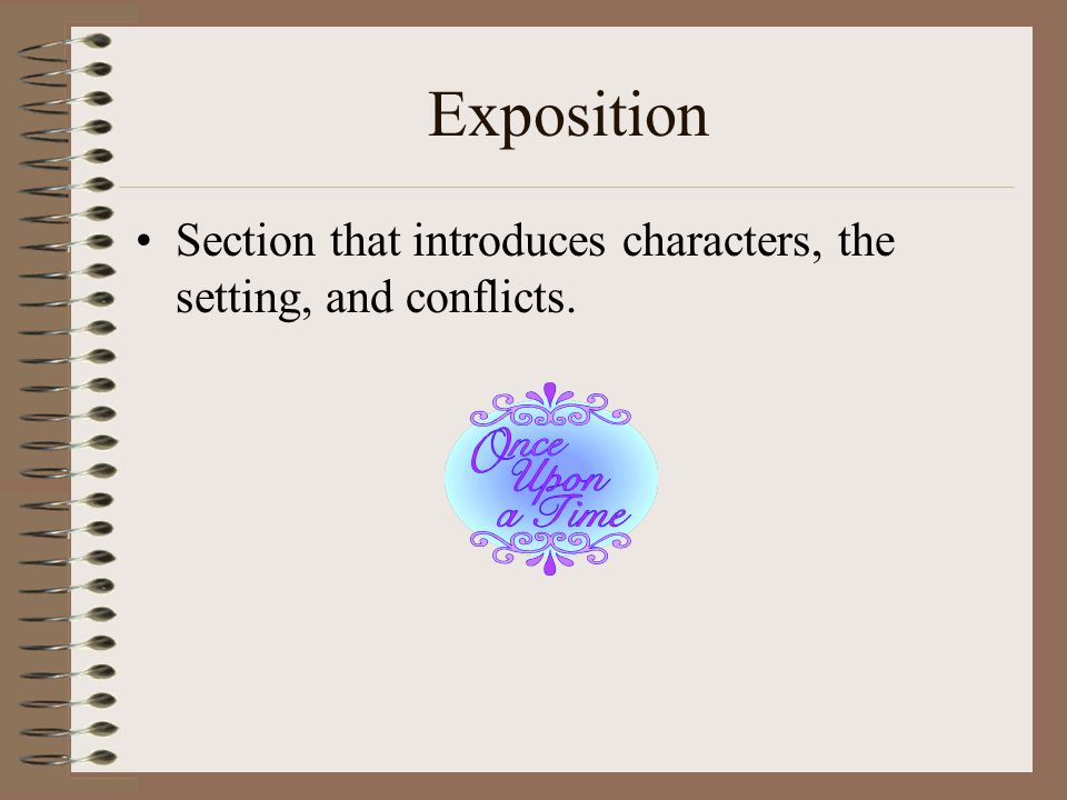 Exposition Section that introduces characters, the setting, and conflicts.
