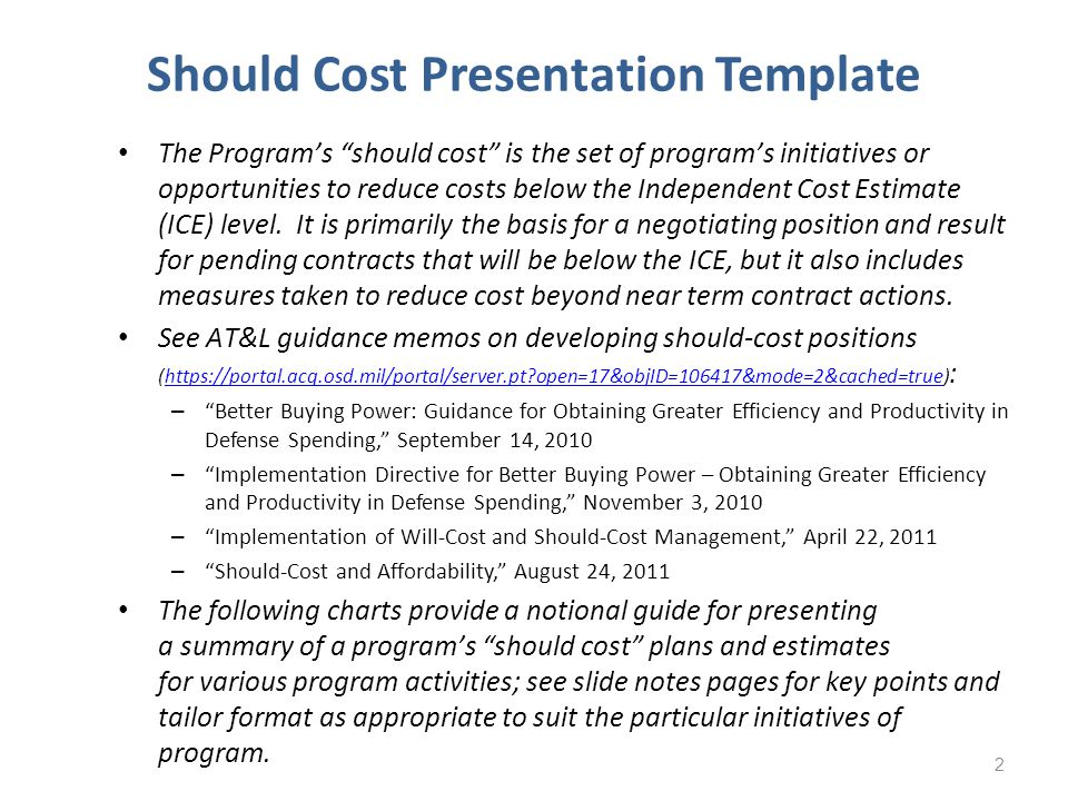 Should Cost Presentation Template