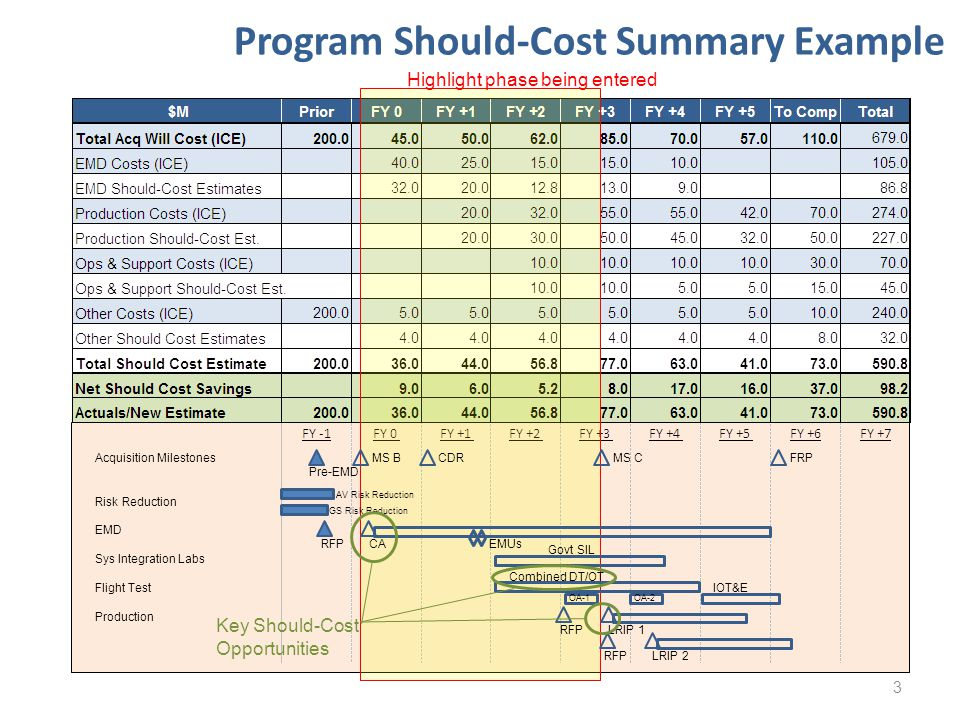 Program Should-Cost Summary Example