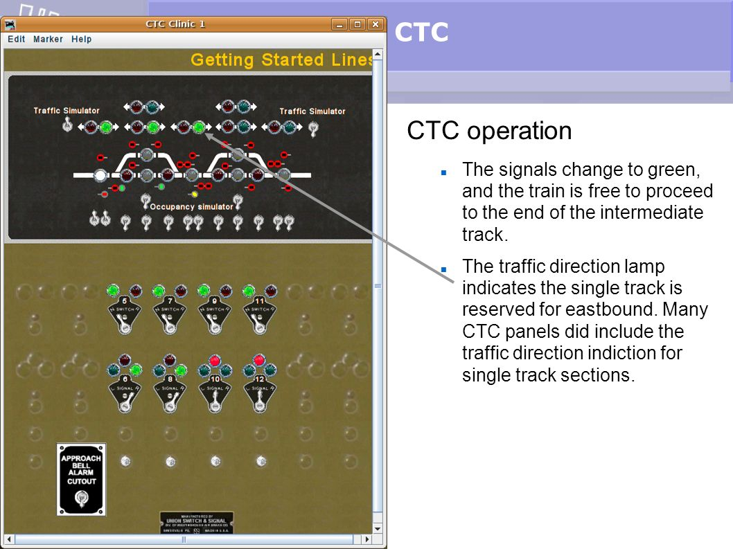 CTC CTC operation. The signals change to green, and the train is free to proceed to the end of the intermediate track.