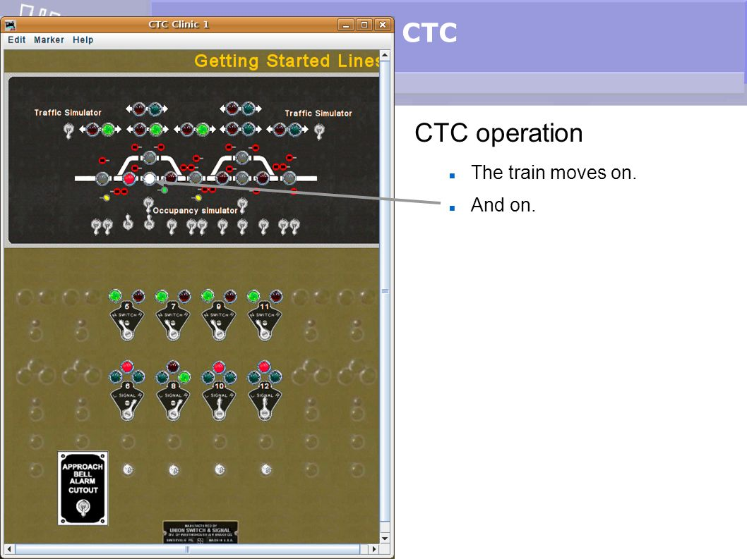 CTC CTC operation The train moves on. And on.