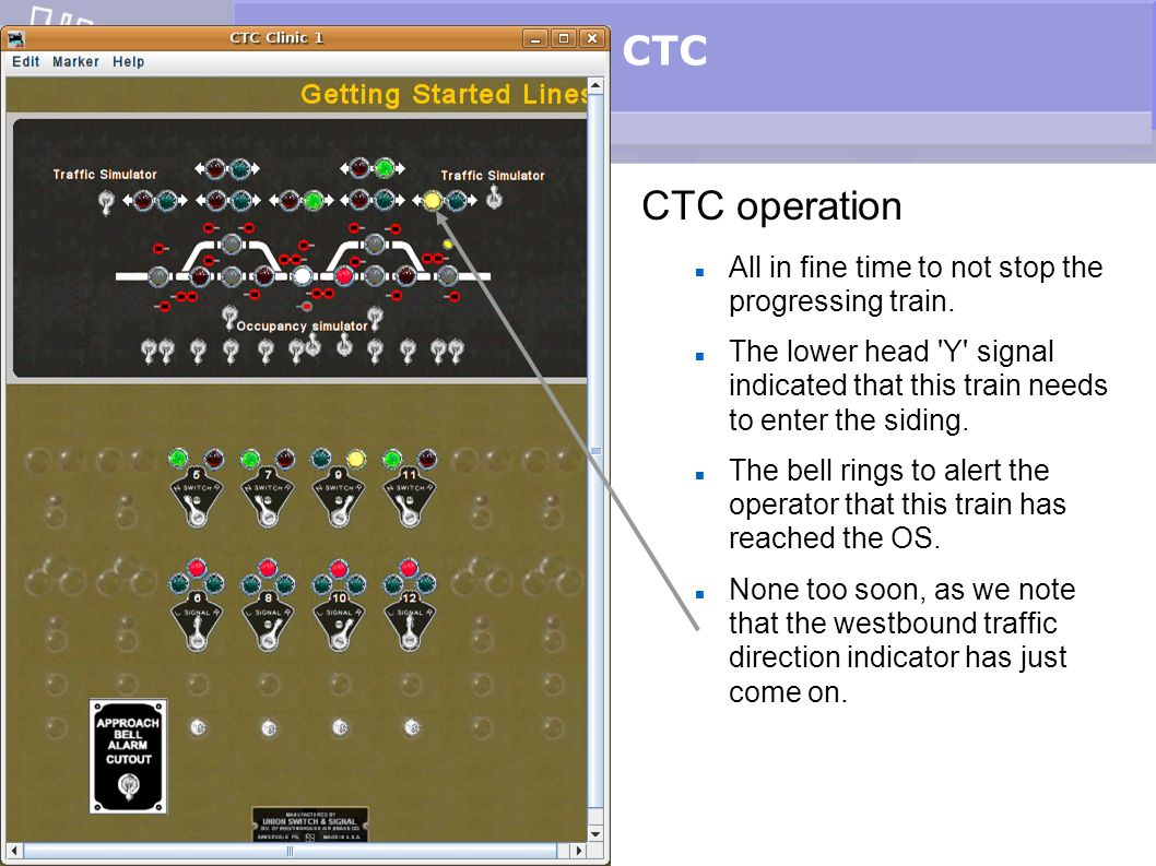 CTC CTC operation All in fine time to not stop the progressing train.
