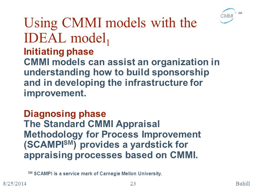 Using CMMI models with the IDEAL model1