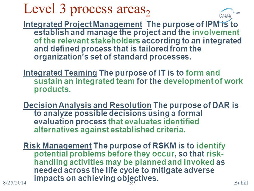 Level 3 process areas2