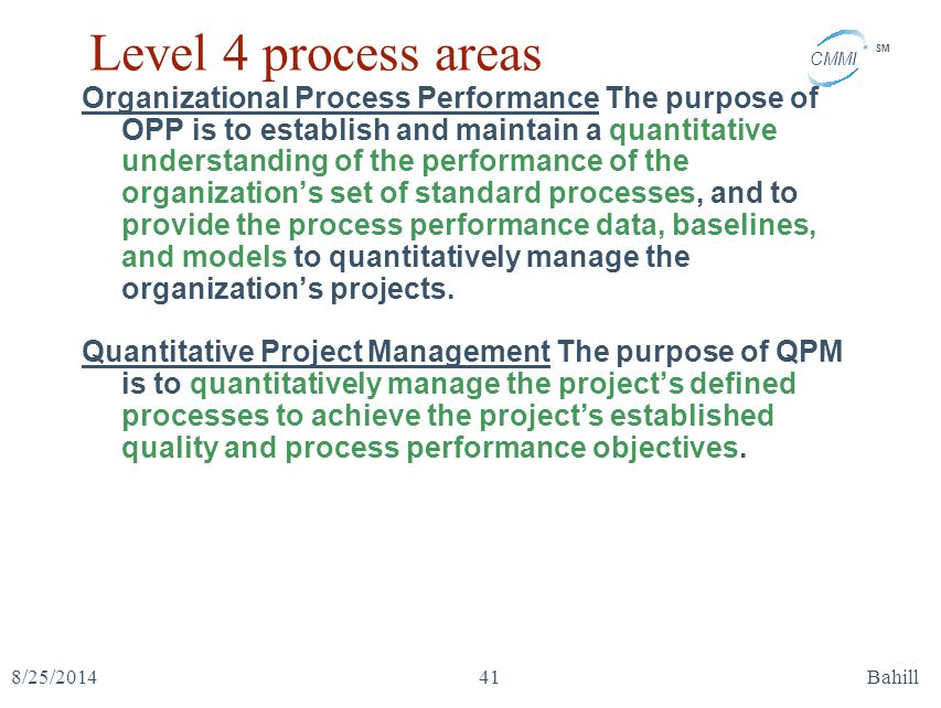 Level 4 process areas