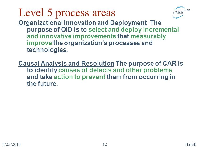 Level 5 process areas