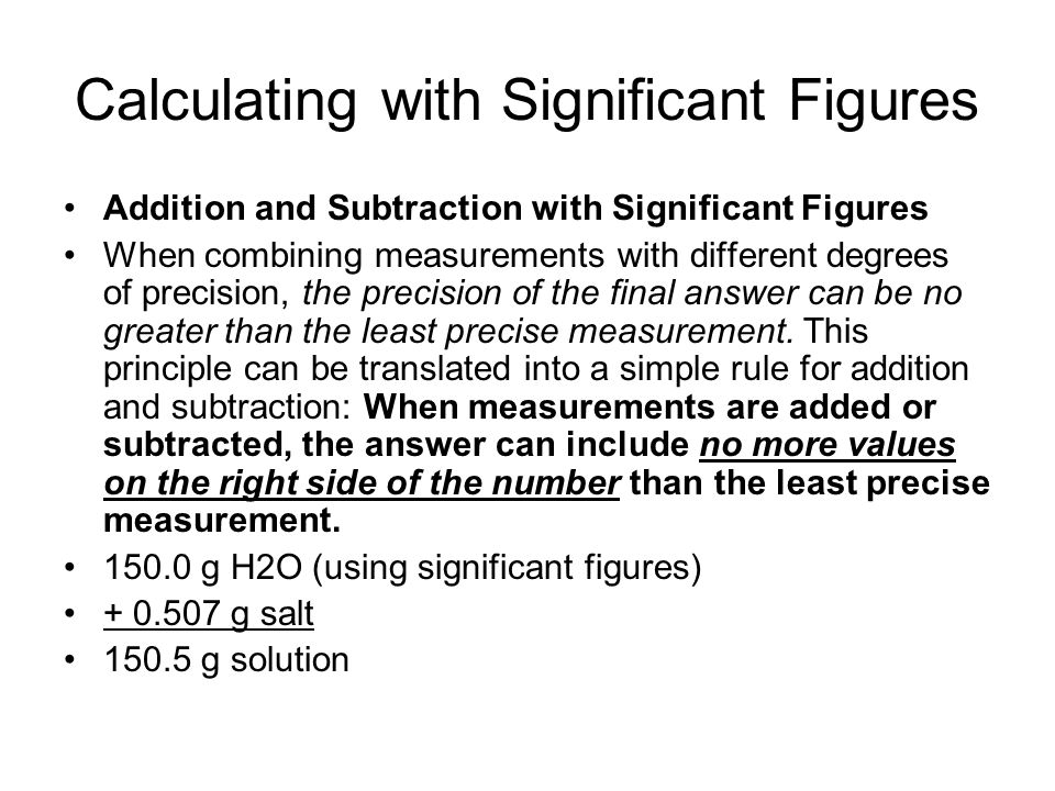 Calculating with Significant Figures