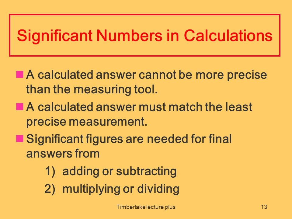 Significant Numbers in Calculations