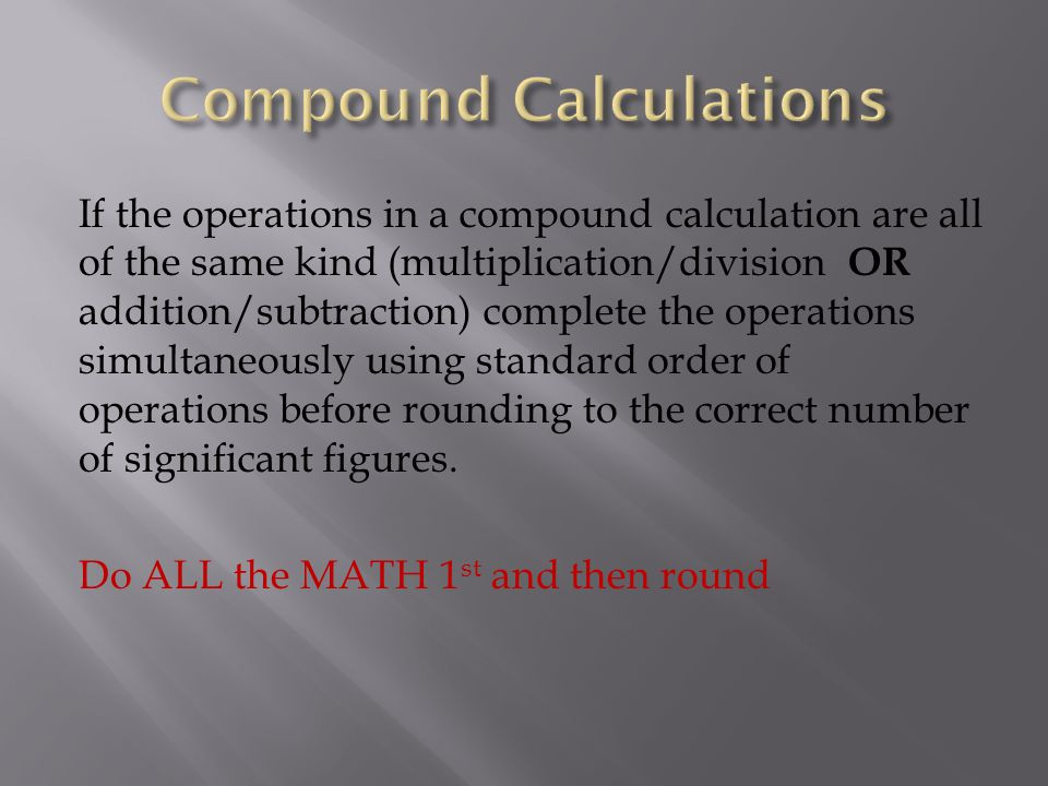 Compound Calculations