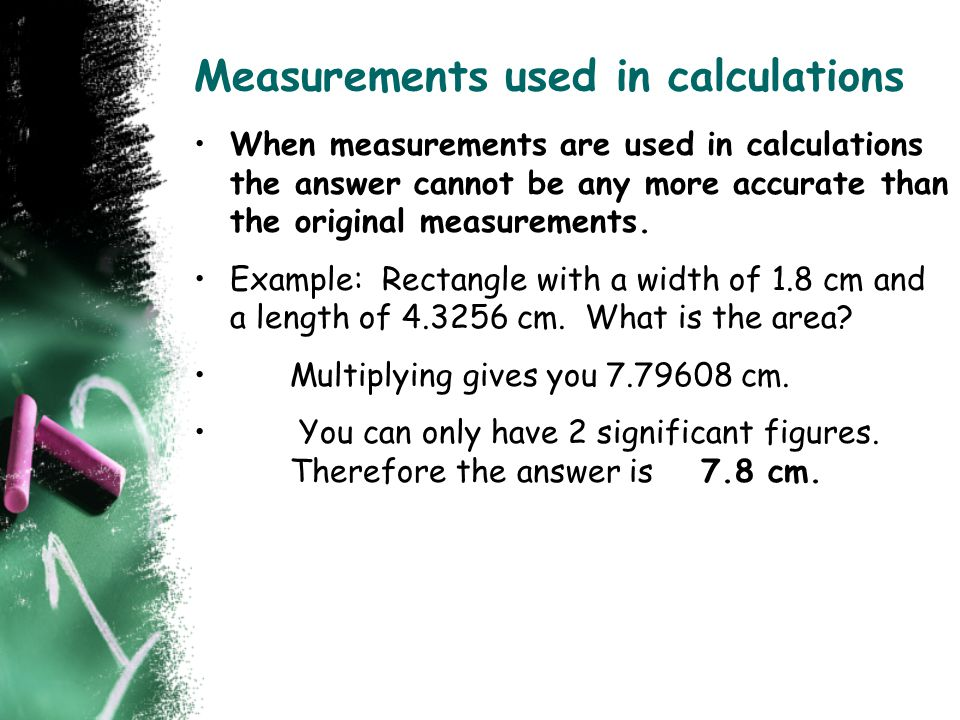 Measurements used in calculations