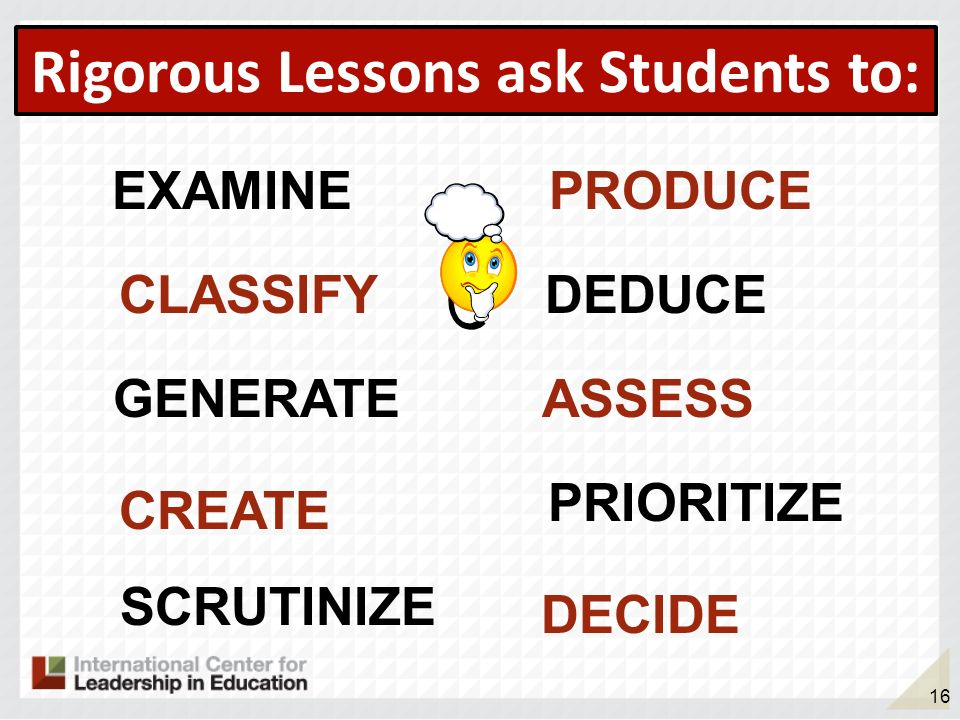 Rigorous Lessons ask Students to: