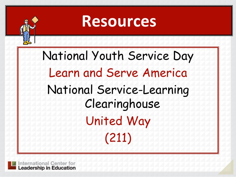 Resources National Youth Service Day Learn and Serve America