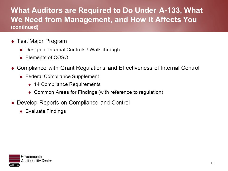 Audit Scope and Objectives of an A-133 Single Audit