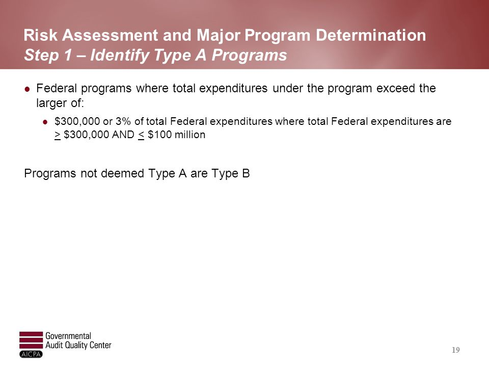 Risk Assessment and Major Program Determination Step 2 – Identify Low Risk Type A