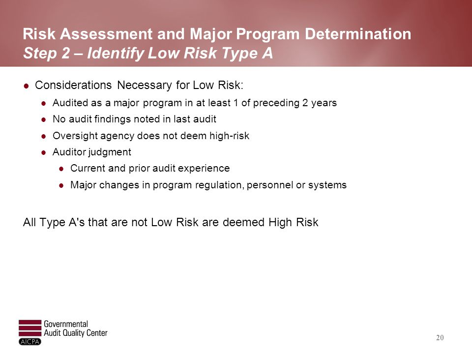 Risk Assessment and Major Program Determination Step 3 – Identify High Risk Type B