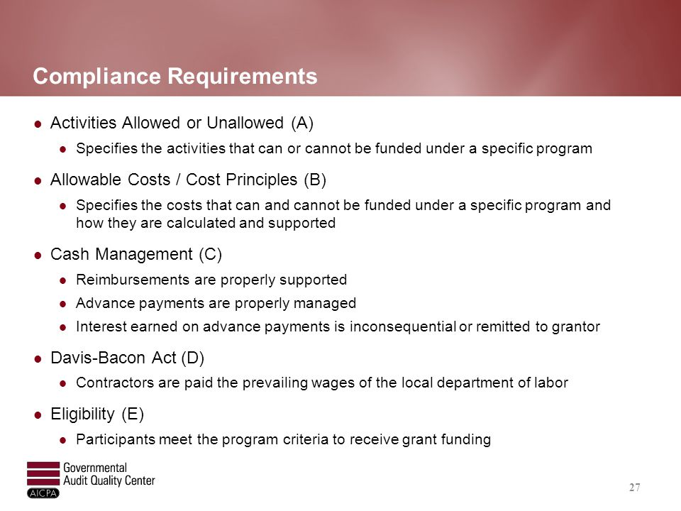 Compliance Requirements (continued)