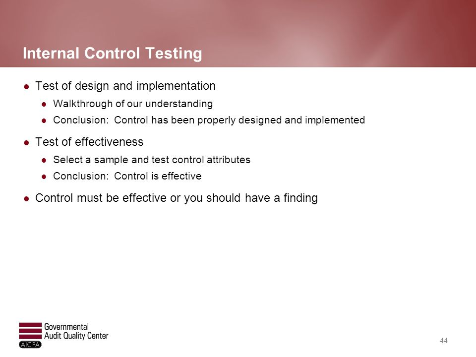 Compliance Testing If controls are effective, sample sizes are similar if not the same for compliance testing.
