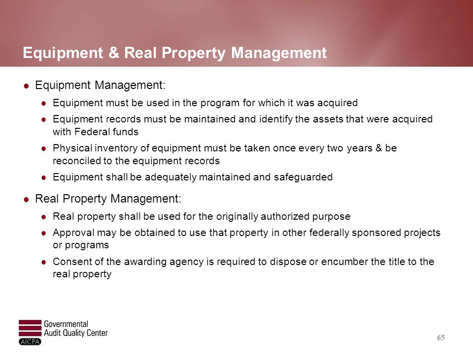 Equipment & Real Property Management (continued)