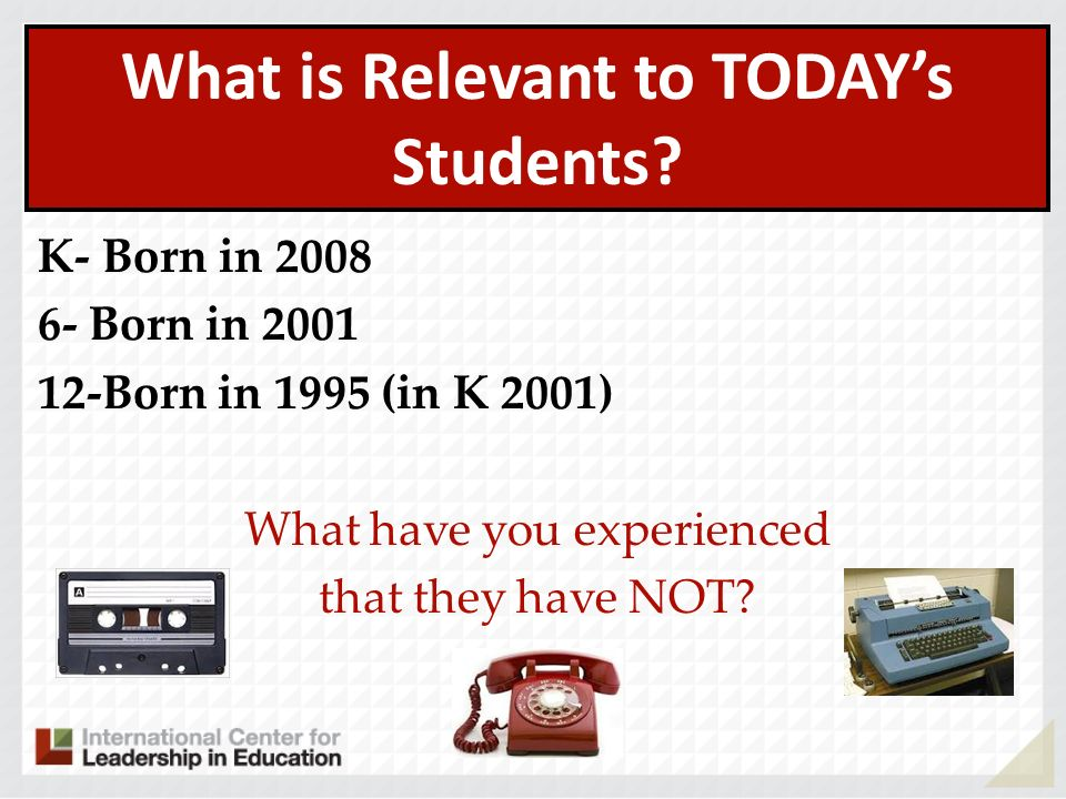 What is Relevant to TODAY's Students