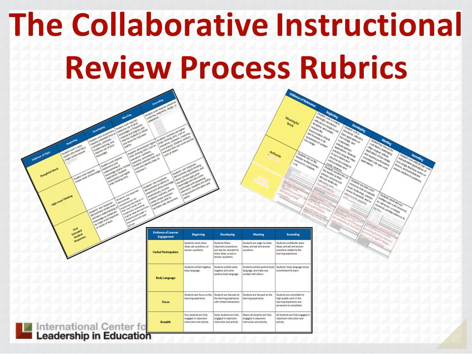The Collaborative Instructional Review Process Rubrics