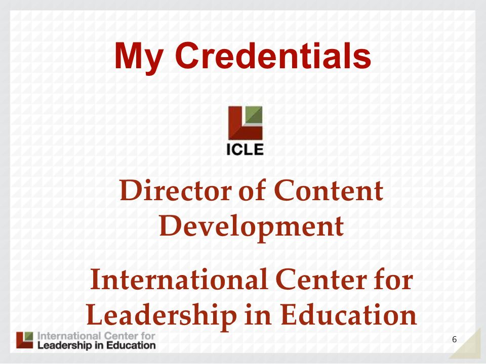 My Credentials Director of Content Development