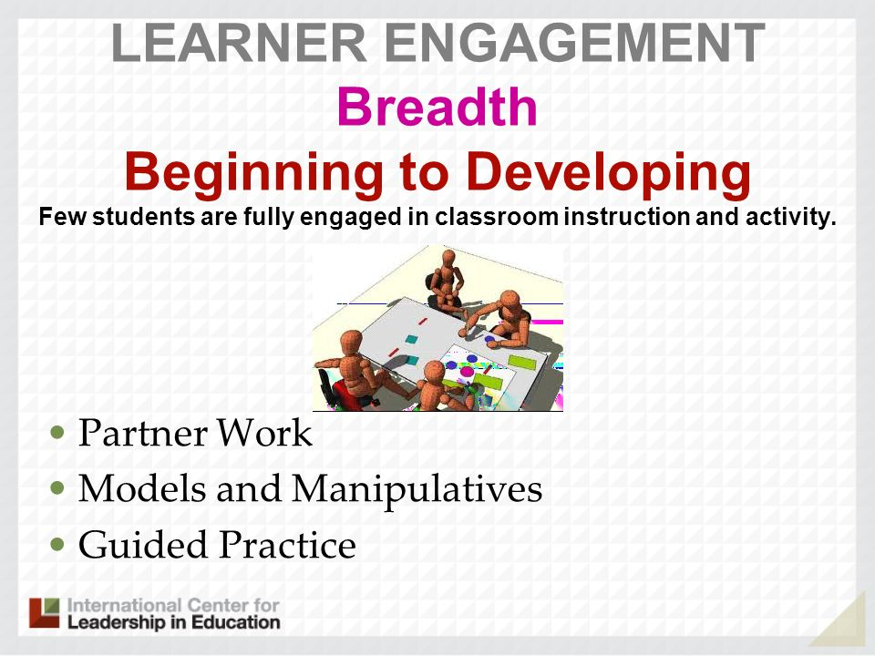LEARNER ENGAGEMENT Breadth Beginning to Developing Few students are fully engaged in classroom instruction and activity.