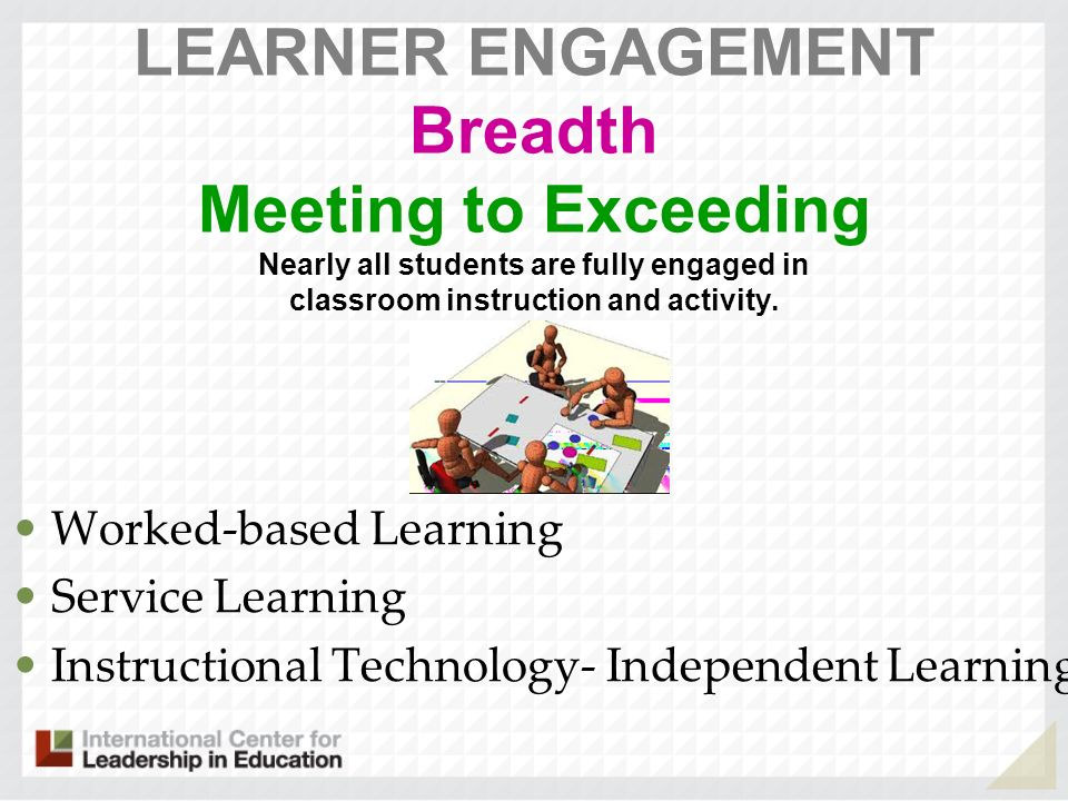 LEARNER ENGAGEMENT Breadth Meeting to Exceeding Nearly all students are fully engaged in classroom instruction and activity.