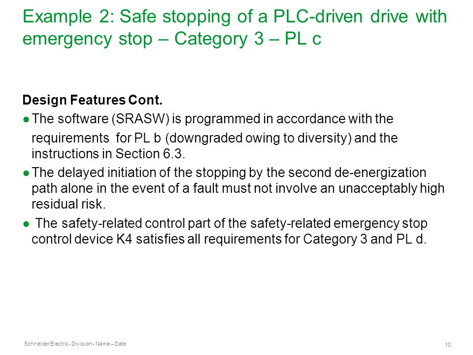 Example 2: Safe stopping of a PLC-driven drive with emergency stop – Category 3 – PL c