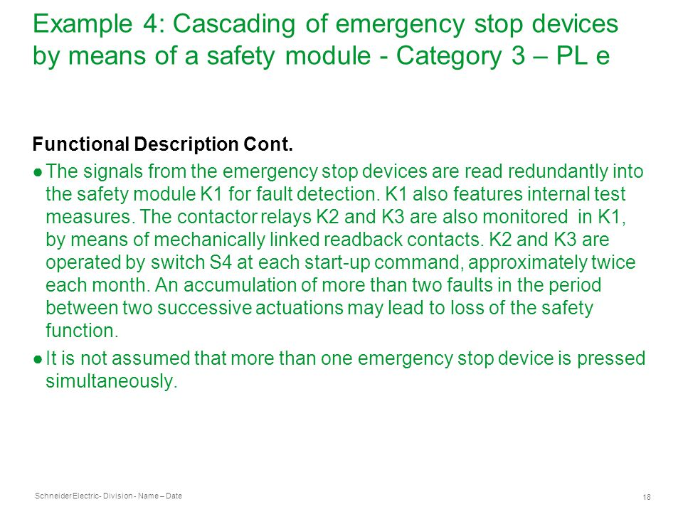 Example 4: Cascading of emergency stop devices by means of a safety module - Category 3 – PL e