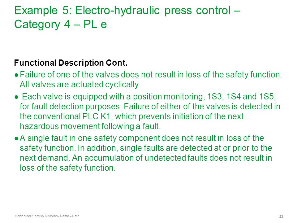 Example 5: Electro-hydraulic press control – Category 4 – PL e
