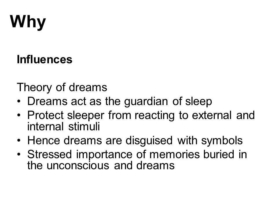 Why Influences Theory of dreams Dreams act as the guardian of sleep
