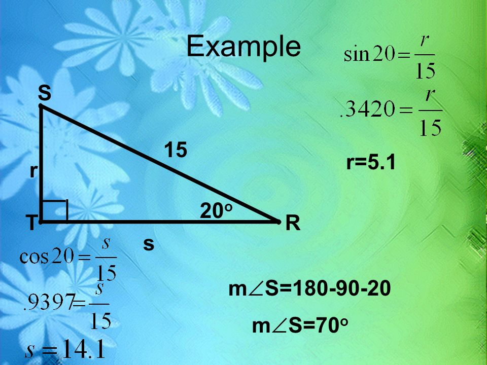 Example S 15 r=5.1 r __ __ 20o T R s mS= mS=70o