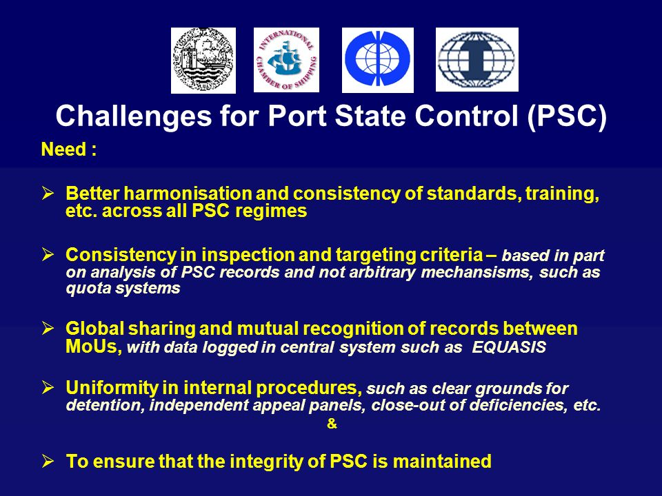 Challenges for Port State Control (PSC)