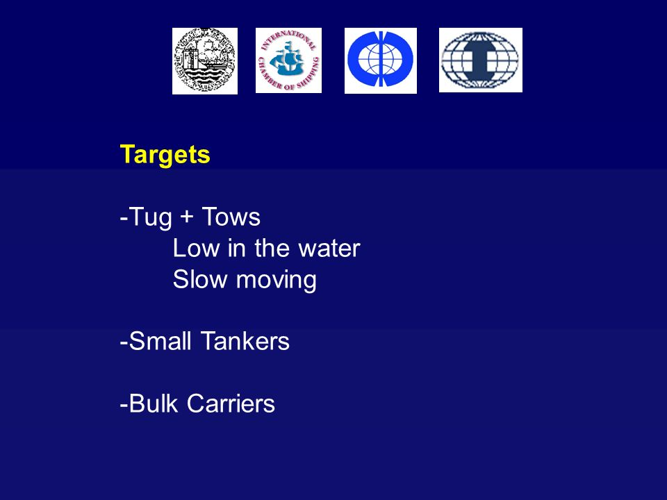 Targets Tug + Tows Low in the water Slow moving Small Tankers Bulk Carriers