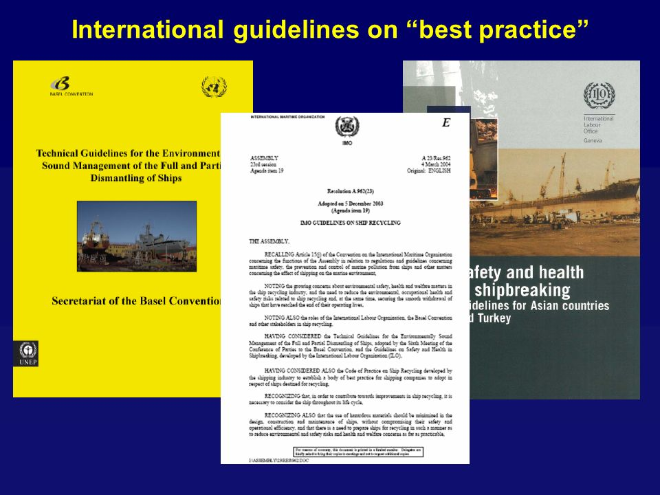 International guidelines on best practice