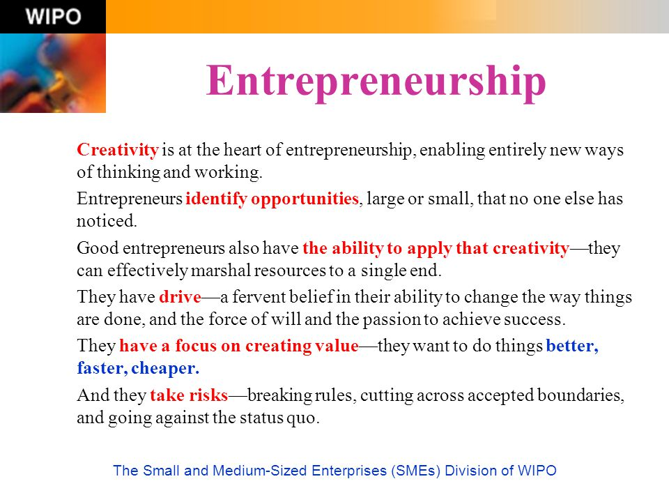 The Small and Medium-Sized Enterprises (SMEs) Division of WIPO