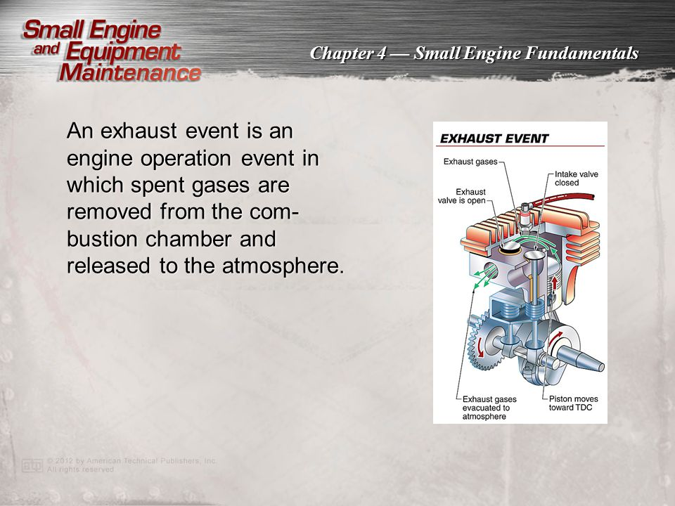 An exhaust event is an engine operation event in which spent gases are removed from the com-bustion chamber and released to the atmosphere.