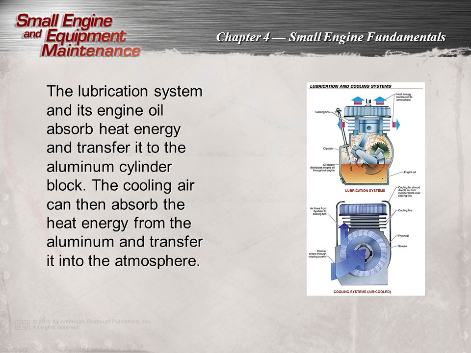 The lubrication system and its engine oil absorb heat energy and transfer it to the aluminum cylinder block. The cooling air can then absorb the heat energy from the aluminum and transfer it into the atmosphere.