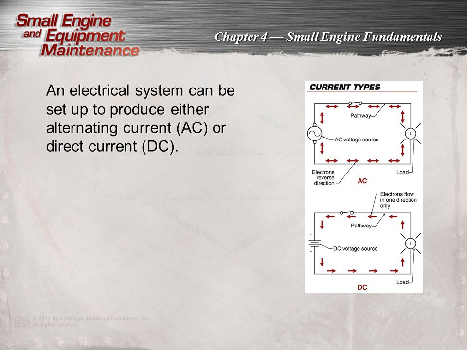 An electrical system can be set up to produce either alternating current (AC) or direct current (DC).