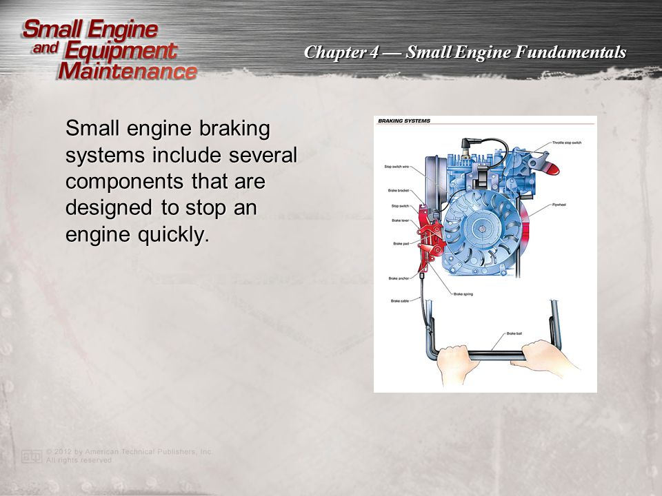 Small engine braking systems include several components that are designed to stop an engine quickly.