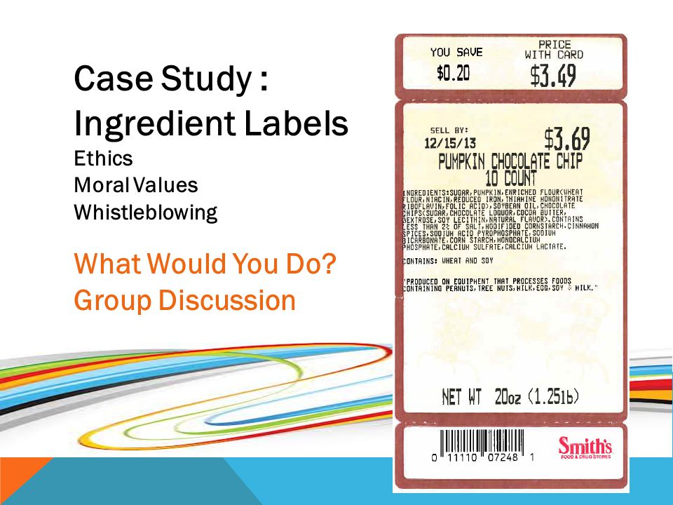 Case Study : Ingredient Labels What Would You Do Group Discussion