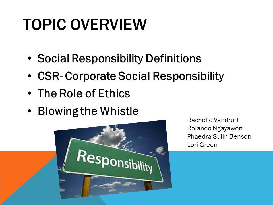 Topic Overview Social Responsibility Definitions