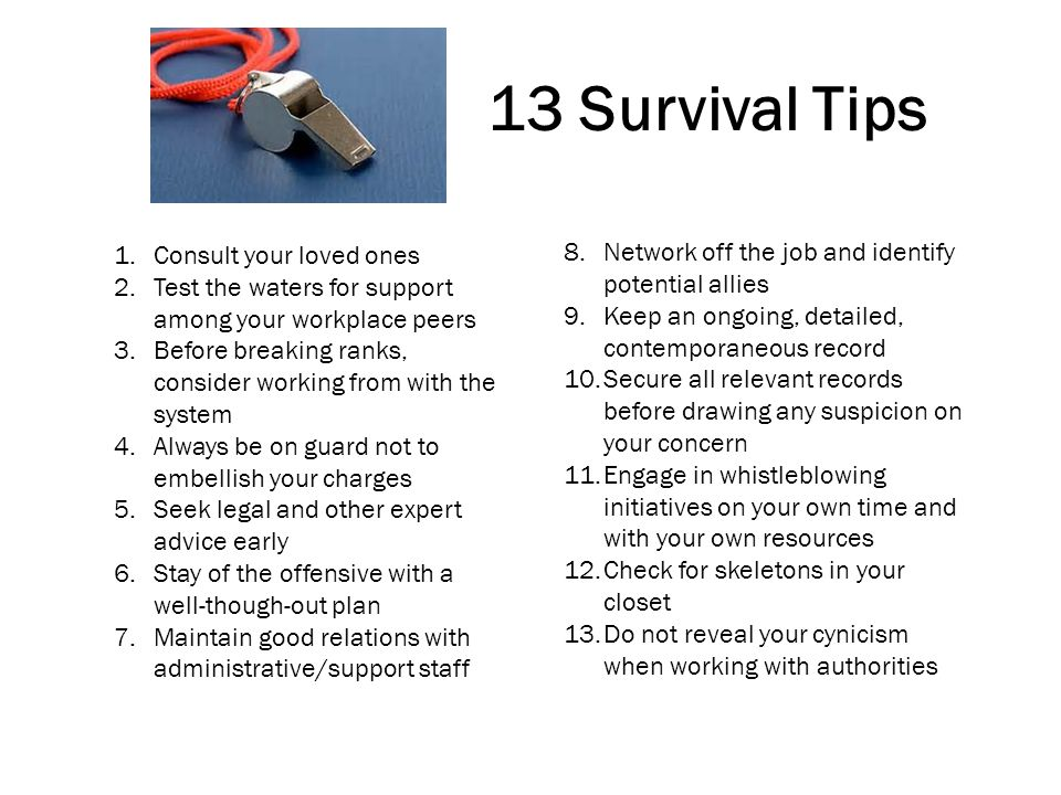 13 Survival Tips Consult your loved ones