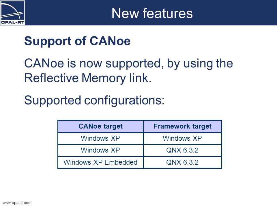 New features Support of CANoe