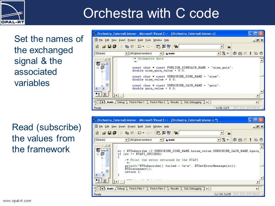 Orchestra with C code Set the names of the exchanged signal & the associated variables.