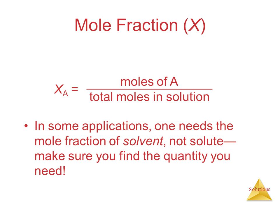 total moles in solution