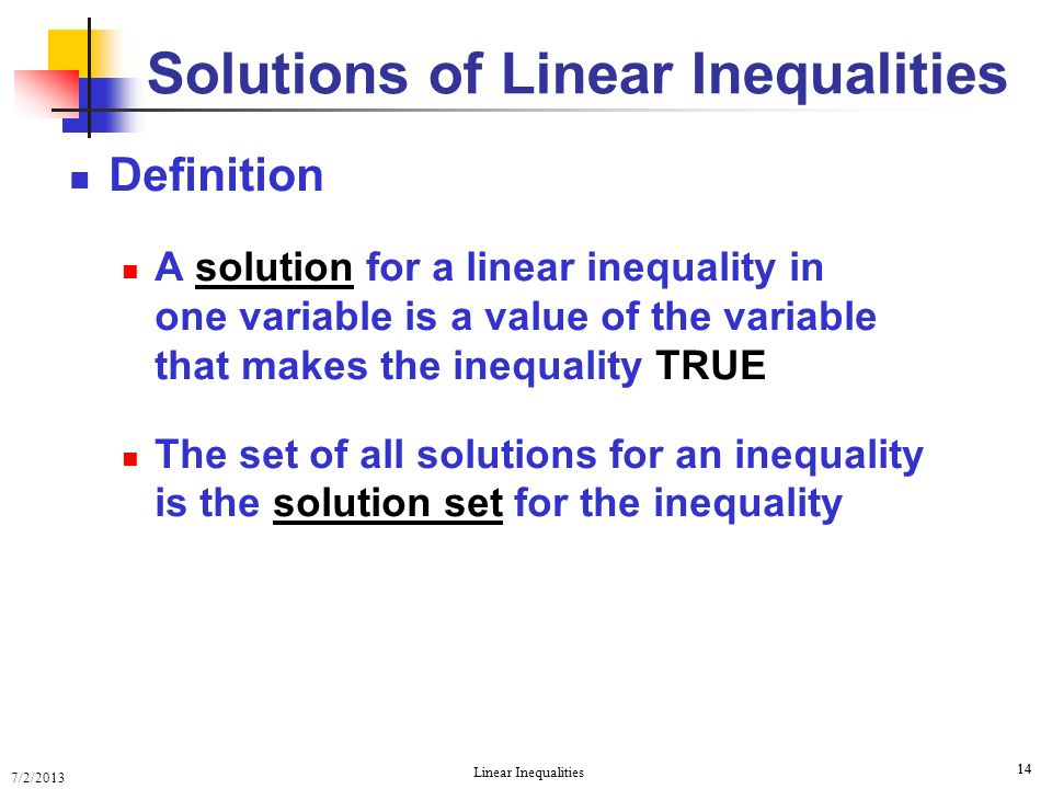 Solving Linear Inequalities Solving Linear Inequalities Ppt Download
