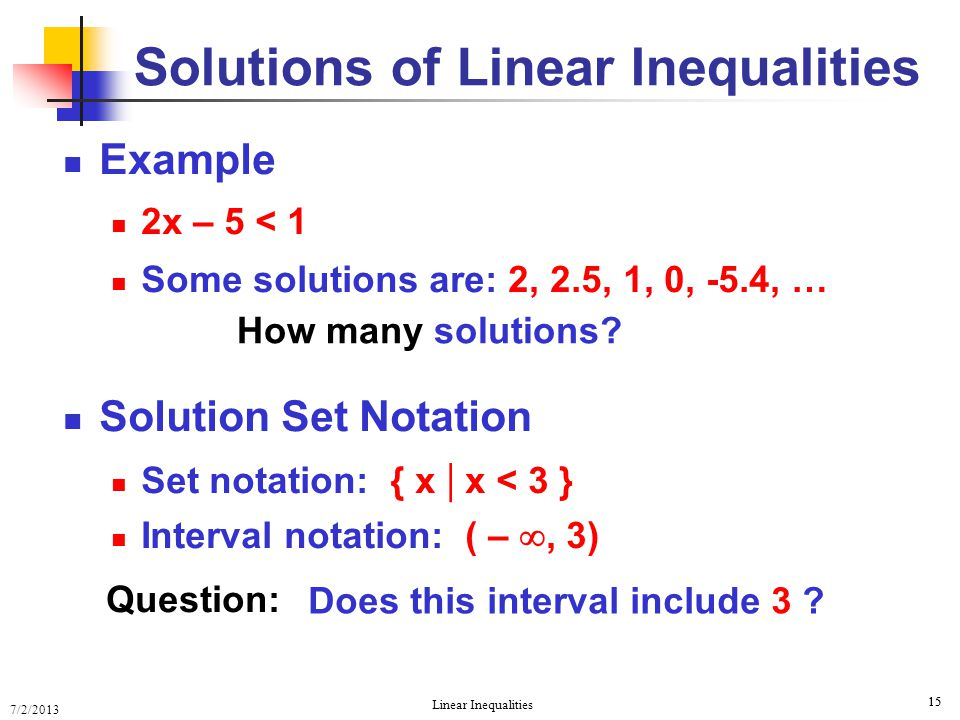 Solutions of Linear Inequalities